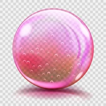 Duża różowa szklana kula z odblaskami i cieniami. przejrzystość tylko w pliku
