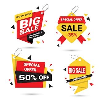 Duża sprzedaż banery ustaw oferta specjalna szablon tagi kolekcja na białym tle