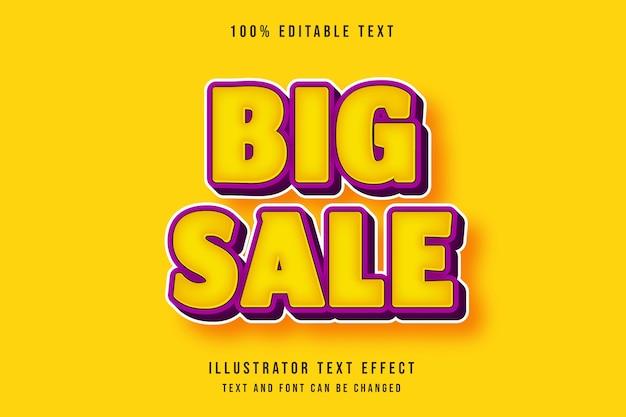Duża sprzedaż, efekt edytowalnego tekstu 3d nowoczesny żółty fioletowy komiks styl tekstu