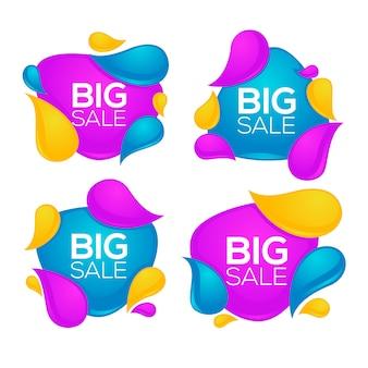 Duża sprzedaż, kolekcja jasnych błyszczących i błyszczących etykiet bąbelkowych zniżki, banery i naklejki na białym tle