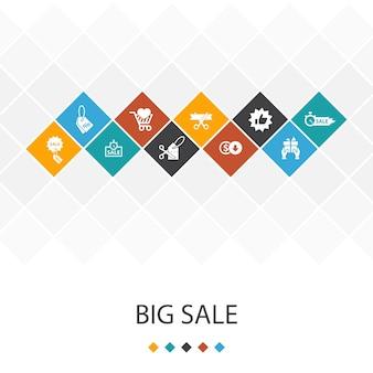 Duża sprzedaż modny koncepcja infografiki szablon interfejsu użytkownika. zniżki, zakupy, oferta specjalna, ikony najlepszego wyboru
