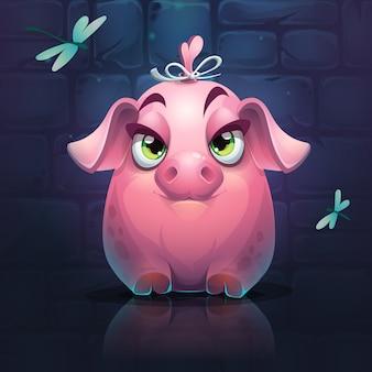 Duża świnka dziewczyna z ważkami