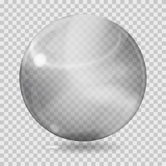 Duża szara przezroczysta szklana kula z odblaskami i cieniem. przezroczystość tylko w pliku wektorowym