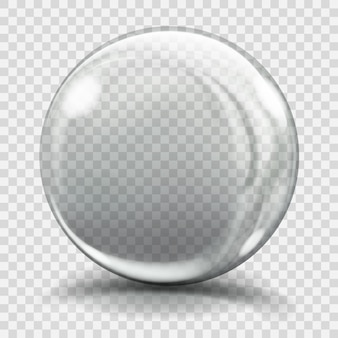 Duża szara szklana kula z odblaskami i cieniami. przezroczystość tylko w pliku wektorowym