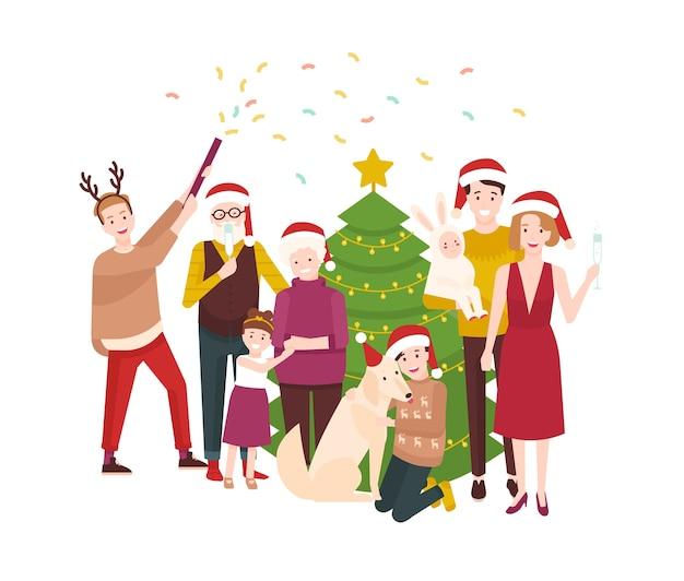 Duża szczęśliwa rodzina obchodzi boże narodzenie