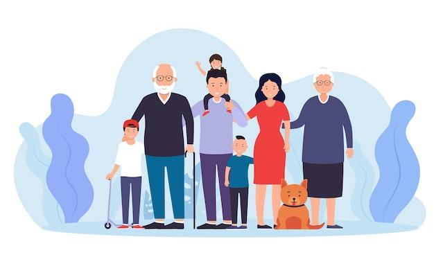 Duża szczęśliwa rodzina razem. ojciec z mamą dwóch chłopców i dziewczynkę, dziadek, babcia i zwierzak.