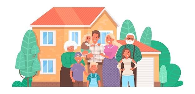 Duża szczęśliwa rodzina w domu. rodzice i dzieci, dziadkowie razem. kupno lub budowa domu.