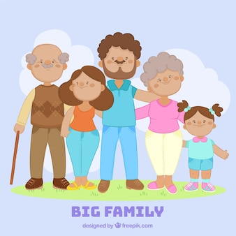 Duża szczęśliwa rodzina z ręcznie rysowane stylu