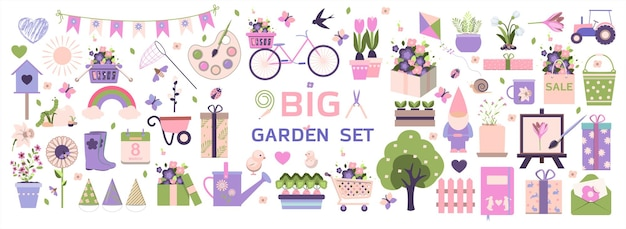 Duża wiosna zestaw wektor narzędzia ogrodowe kwiaty płaska konstrukcja słodkie ikony na sprzedaż aplikacji strony internetowej lub ad