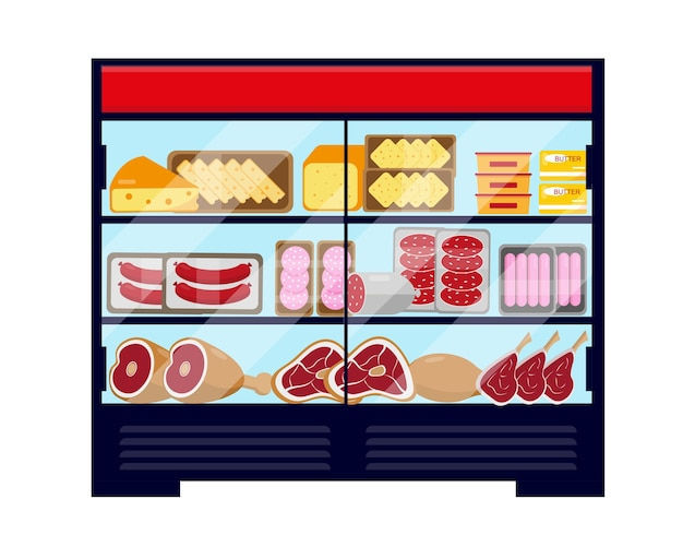 Duża witryna chłodnicza pełna mięs i serów. ilustracja wektorowa na białym tle.