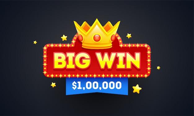 Duża wygrana godło lub projekt znaczka z wygrywającą nagrodą.