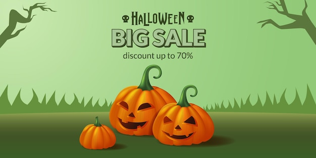 Duża wyprzedaż banner ilustracji halloween dynia jack o latarnia na zielonej trawie na imprezę cukierek albo psikus