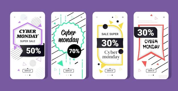 Duża wyprzedaż cyber poniedziałek kolekcja naklejek oferta specjalna promocja marketing świąteczny koncepcja zakupów ekrany smartfonów ustaw banery aplikacji mobilnej online
