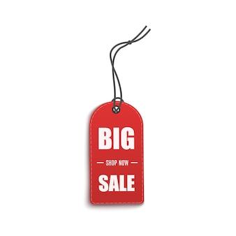 Duża wyprzedaż - realistyczna etykieta cenowa lub czerwona metka. szablon elementu reklamowego na imprezy dyskontowe dla sklepów internetowych i handlu detalicznego.