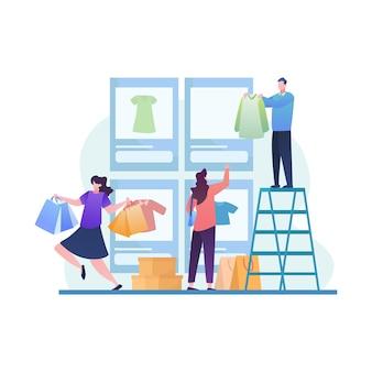Duża wyprzedaż z ludźmi poszukującymi nowego trendu w sklepie mobilnym