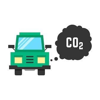 Duża zielona ciężarówka emituje dwutlenek węgla. pojęcie smogu, zanieczyszczenia, uszkodzenia, zanieczyszczenia, śmieci, produktów spalania. na białym tle. płaski trend w nowoczesnym stylu ilustracji wektorowych
