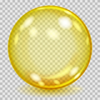 Duża żółta przezroczysta szklana kula z odblaskami i cieniem. przezroczystość tylko w pliku wektorowym