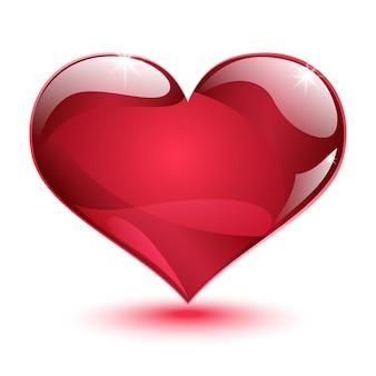 Duże błyszczące czerwone serce z cieniem i blaskiem na białym tle