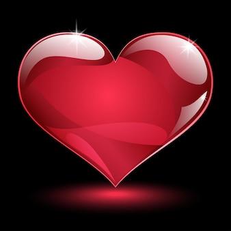 Duże błyszczące czerwone serce z cieniem i blaskiem na czarnym tle
