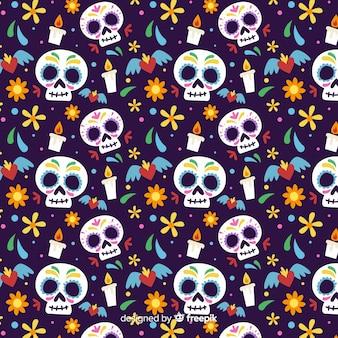 Duże czaszki płaski wzór día de muertos