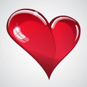 Duże czerwone błyszczące serce z blaskiem