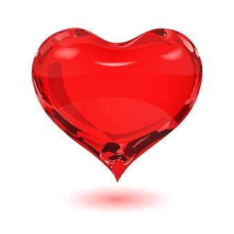 Duże czerwone serce na białym tle z cieniem