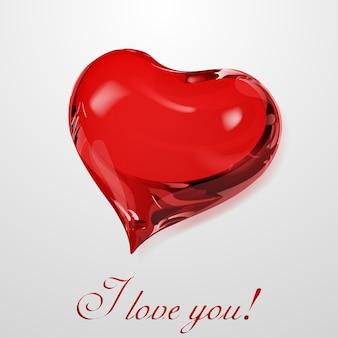 Duże czerwone serce na białym tle z napisem kocham cię