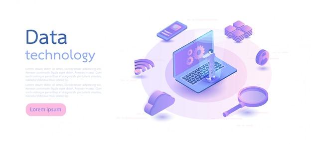 Duże dane, przechowywanie informacji w chmurze, globalna technologia przesyłania. ilustracja wektorowa izometryczny.