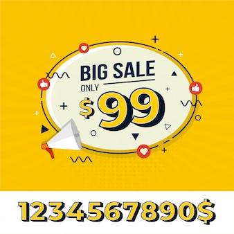 Duże etykiety sprzedaży do promocji marketingowej