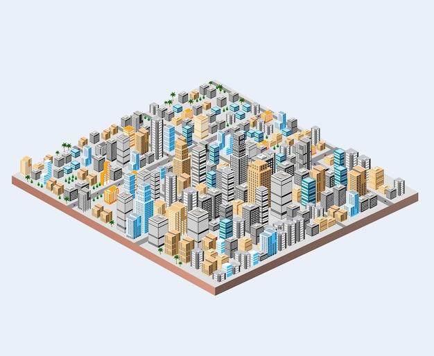Duże izometryczne miasto z setkami różnych domów, biur, drapaczy chmur, supermarketów i ulic miejskich z ruchem ulicznym.