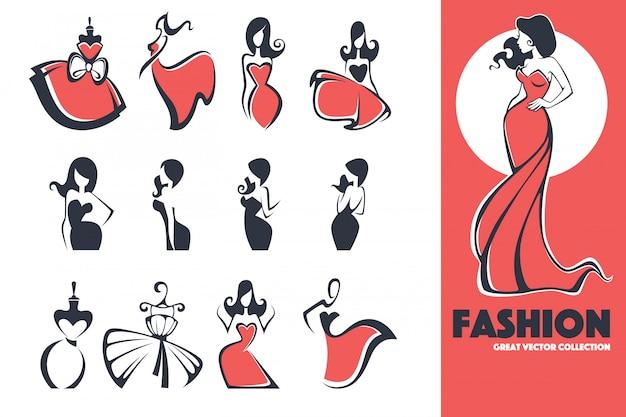 Duże logo mody, sukienki i urody oraz kolekcja emblematów