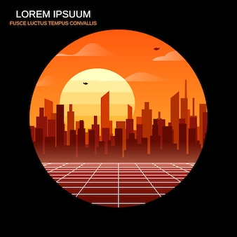Duże miasto jasny wschód słońca retro futurystyczny styl ilustracji wektorowych