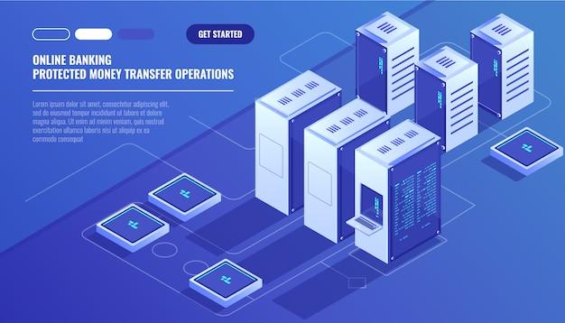 Duże nowoczesne centrum danych, serwerownia, usługa przechowywania danych w chmurze