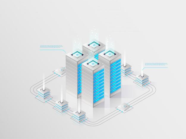 Duże nowoczesne centrum danych, serwerownia