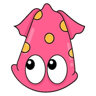 Duże oczy i ładny czerwony kałamarnica głowa, wektor ilustracja karton emotikon. doodle rysunek ikona