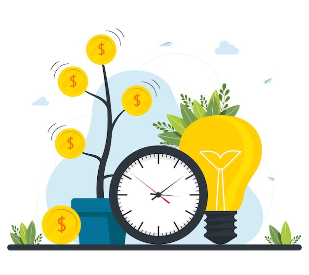 Duże pieniądze monety drzewo zegar żarówki. finansowanie społecznościowe i inwestowanie w pomysł lub rozpoczęcie działalności. inwestycja marketingowa. biznesplan, zarządzanie finansami. ilustracja wektorowa.