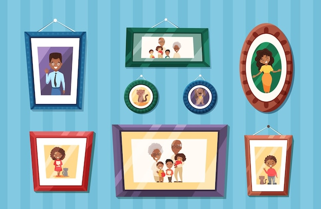 Duże portrety rodziny afroamerykanów w kolorowych ramkach na ścianie matka i ojciec z dzieckiem