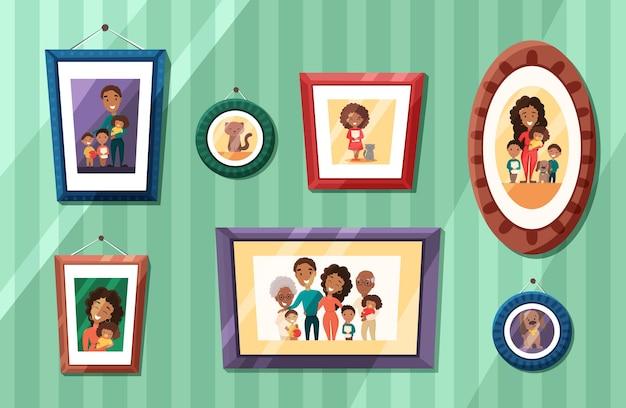 Duże portrety rodziny afroamerykanów w kolorowych ramkach na ścianie
