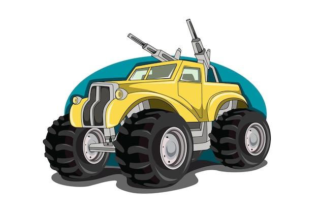 Duże potwory ciężarówki z ręcznym rysunkiem broni