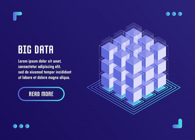 Duże przetwarzanie danych, analiza danych, przechowywanie danych, technologia blockchain. ilustracja wektorowa w stylu płaski izometryczny 3d.