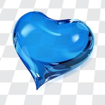 Duże przezroczyste serce w niebieskich kolorach