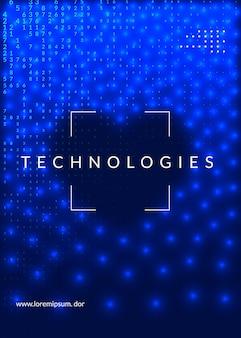 Duże tło danych. koncepcja abstrakcyjna technologii cyfrowej. sztuczna inteligencja i głębokie uczenie. wizualizacja techniczna szablonu ekranu. przemysłowe tło dużych danych.