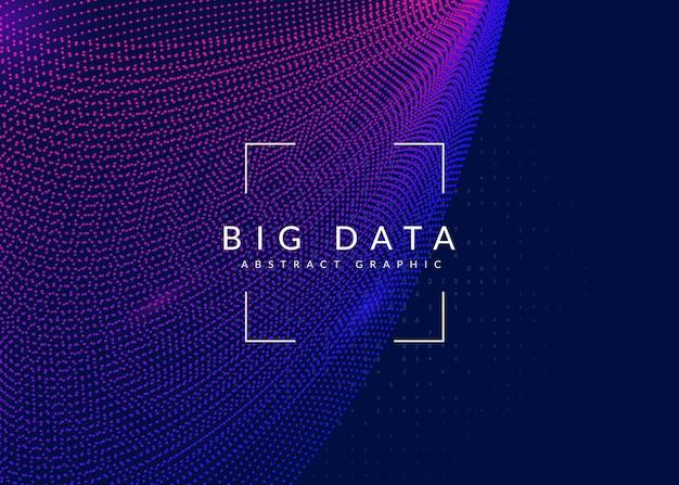 Duże tło danych. technologia wizualizacji, sztucznej inteligencji, głębokiego uczenia i obliczeń kwantowych. szablon projektu dla koncepcji inteligencji. tło wektor dużych danych.