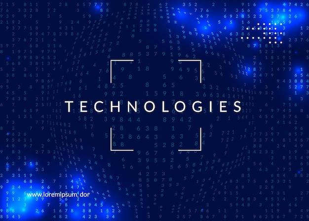 Duże tło danych. technologia wizualizacji, sztucznej inteligencji, głębokiego uczenia i obliczeń kwantowych. szablon projektu koncepcji sieci. cyber duże tło danych.