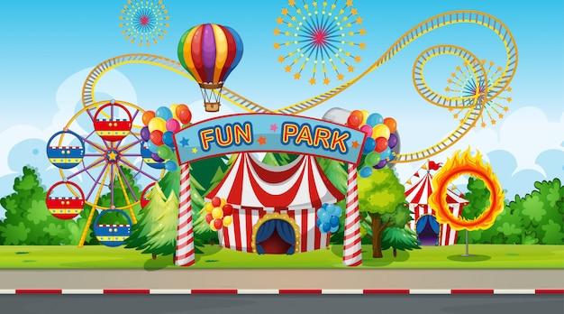 Duże tło parku rozrywki