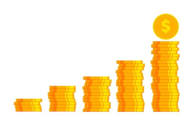 Duże ułożone w stosy złote monety w modnym, płaskim stylu. gry dolarowe ikony na białym tle.
