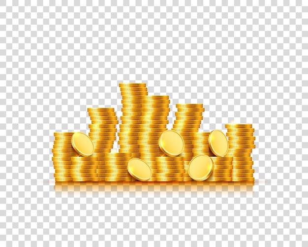 Dużo monet na przezroczystym tle. ilustracja wektorowa