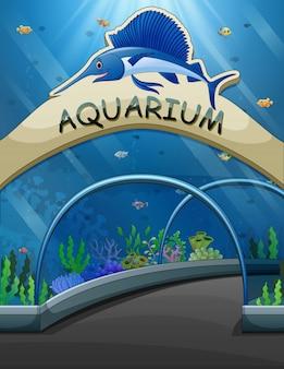 Duży akwarium wejście z życie podwodną ilustracją