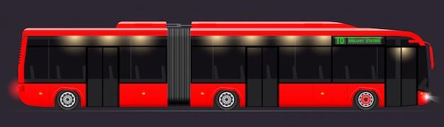Duży autobus przegubowy. czerwony o nowoczesnym designie. widok z boku. przezroczyste okna