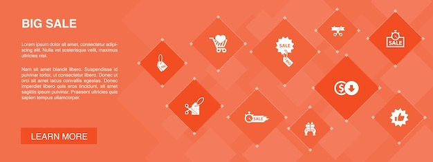 Duży baner sprzedaży 10 ikon concept.discount, zakupy, oferta specjalna, najlepszy wybór prostych ikon
